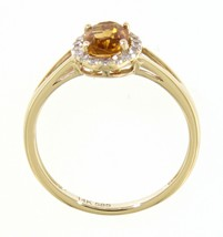 Real Halo Diamond Oval Ring Jewelry 14K Yellow Gold 0.76 Carat Citrine G... - $782.00