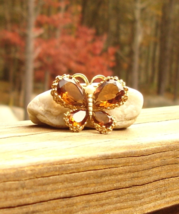 Exquisite Vintage Panetta Amber Rhinestone Butterfly Brooch - $1,495.00