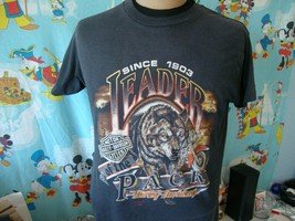 Vintage 1990 Harley Davidson 3D Emblem Wolf Leader Of The Pack T Shirt L - $98.99