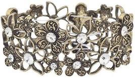 Lux Accessories Burnished Gold Flower Crystal Rhinestone Stretch Bracelet - $32.13