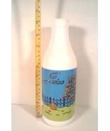 DECORATIVE CARLTON MILK GLASS FRUITS JUICE BOTTLE CAT GEESE TREES FREE S... - $16.95