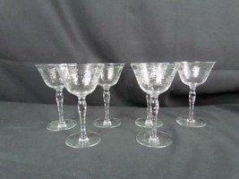 """Lot Of 6 Wine Glasses Etched Flowers Honeycomb Stems 6 1/8"""" x 3 3/4"""" - $54.14"""