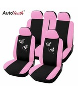 AutoYouth® Pink Car Seat Covers Butterfly Embroidery Car-Styling Woman Seat - $48.11