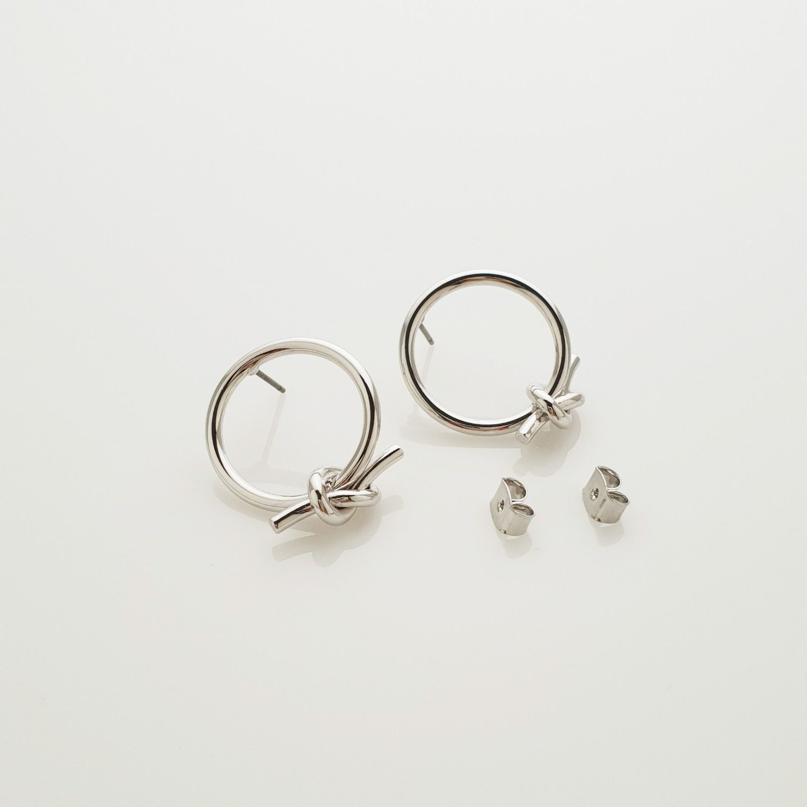 Open Circle Knot Stud Earrings Silver Tone  Brass Titanium Ear Gift For Women image 5