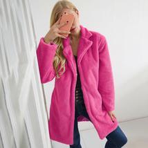 Women's Trendy Pink Thicken Faux Fur Lapel Parka Collar Jacket Winter Coat image 3