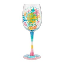 """Beach Life """"Designs by Lolita"""" Wine Glass 15 oz 9"""" Gift Boxed Collectible Lolita image 2"""