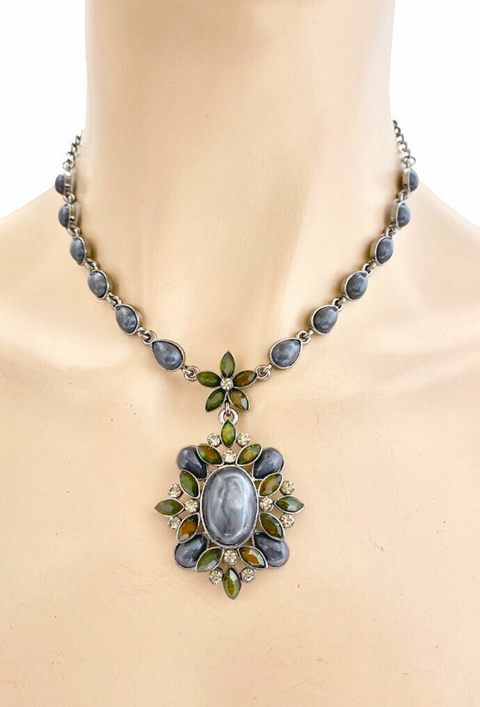 Primary image for Vintage Inspired Pendant Statement Necklace Earrings Gray Lucite& Rhinestones