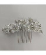 Wedding Hair Comb Accessory Broad Bling Prom Flower Silver white - $8.91