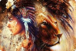 Native American Women Lion Outdoor Bow Hunting Wilderness Guns Wall Art ... - €17,20 EUR
