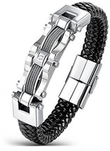 Areke Men's Stainless Steel Braided Leather Bracelets, CZ Punk Cuff Brac... - $32.91