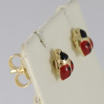 Baby Earrings in Yellow 750 18k Stud, Mini Ladybug Enamel 5 MM image 2