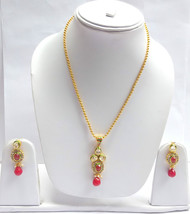 Gold Plated Indian Cubic Zirconia Ruby Pearl Chain Pendant Earrings Jewellery - $17.27