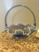 Vintage Fenton Glass Blue Rose Crest Large Basket Handlers Mark Original... - $25.00