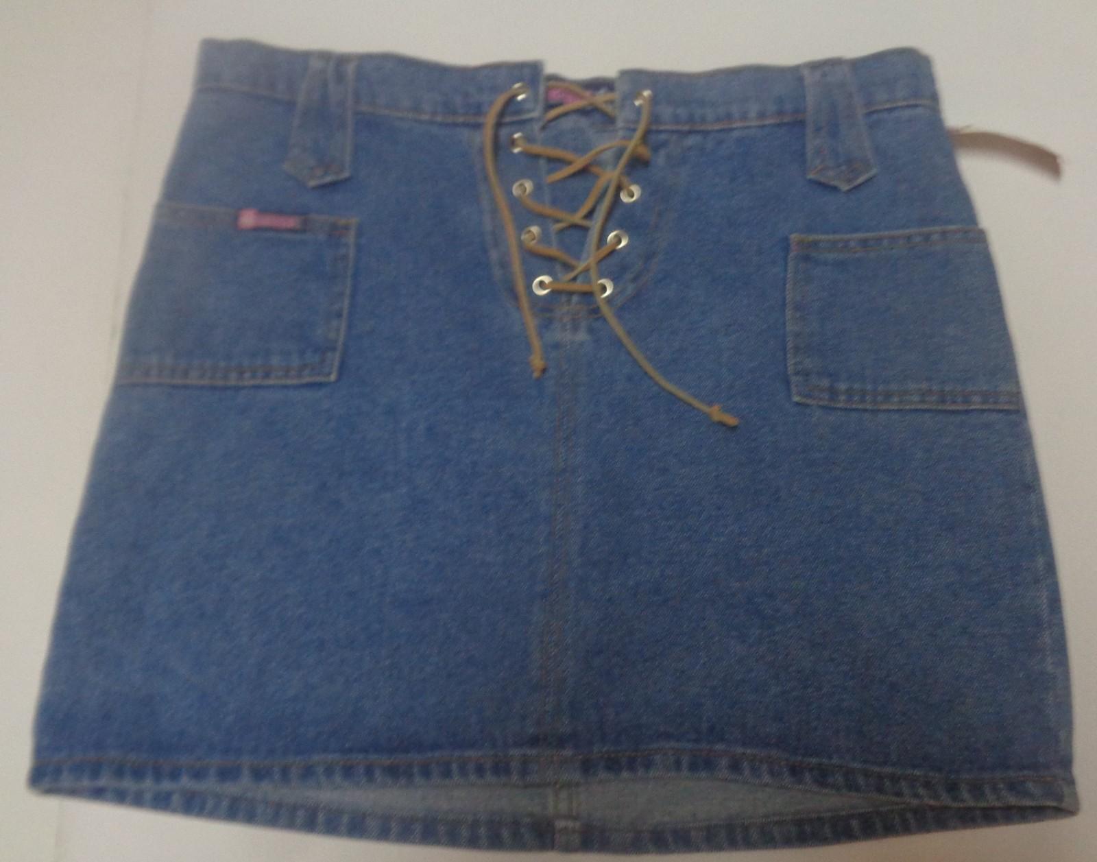 Women's Bubblegum Jean Mini Skirt NWT Leather Front Tie SZ 7/8 Made USA