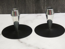Pair Piet Hein Style Candle Holders Candlesticks MCM Atomic Chrome Matte... - $33.66