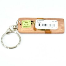 Northwoods Wooden Parquetry Rustic Sea Turtle Design Tile Keychain image 2