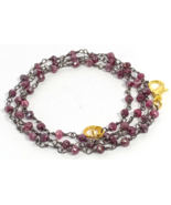 3-4MM Coated Ruby Beads Black Plated Rosary Chain Rondelle Gemstone Neck... - $36.45+