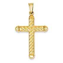 14K Yellow Gold Hollow 3-D Textured Latin Cross Charm Pendant  2.13 Inch - $247.63
