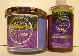 Bath & Body Work FRENCH LAVENDER 3 wick candle & 7.5 OZ antibacterial SA... - $44.99