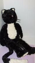 Jellycat Bashful Cat Black off-White Pink Nose Soft Plush Tuxedo Kitten ... - $80.18