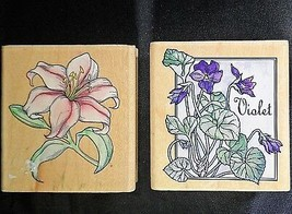 Flowers Rubber Stampede Lot 2 Stamps Small Lily Violet Floral  - $8.69