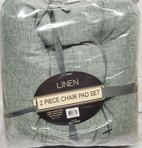 """2 THICK REVERSIBLE LINEN CUSHION CHAIR PADS with ties (16""""x17"""") GREENISH... - $19.79"""