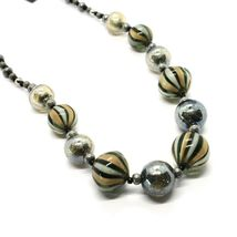 Necklace Antica Murrina Venezia with Murano Glass Gray Military Green COA3A32 image 3