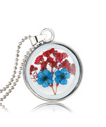 Variation #874 of Super Charming Dried Flowers Round Glass Silver Plated... - $16.88
