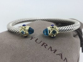 DAVID YURMAN Renaissance 5mm Cable Classic Blue Topaz Lapis Lazuli Brace... - $649.99