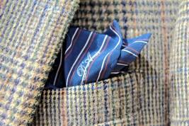 Amir Beverly Hills Midnight Blue Striped Silk Pocket Square -- Italy -- ... - $34.95