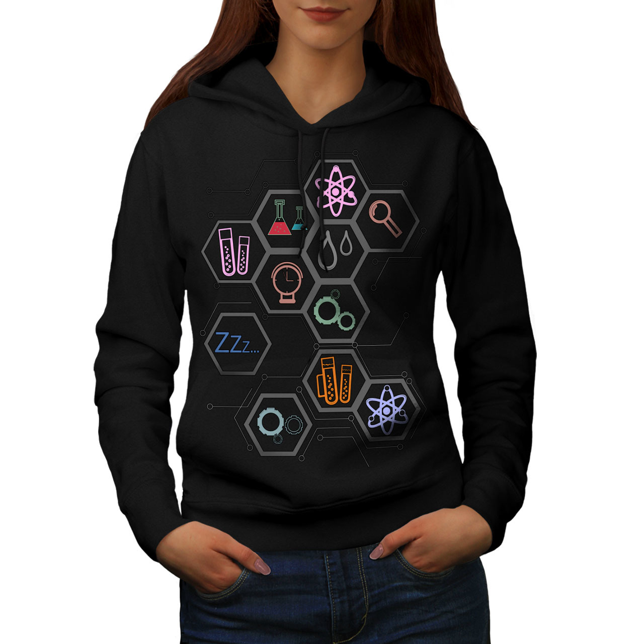 Primary image for Science Love Print Sweatshirt Hoody Geek Madness Women Hoodie