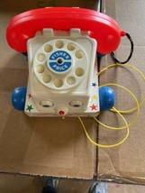Vintage 1961 Fisher Price CHATTER BOX TELEPHONE PHONE PULL TOY #747 wood... - $19.99