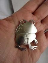 Rare Vintage Signed KIM Frog Brooch Pin Silver tone - $16.82