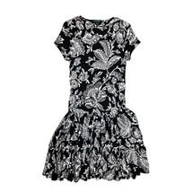 Lauren Ralph Lauren Womens Dress Black White Floral Drop Waist Short Sle... - $22.79