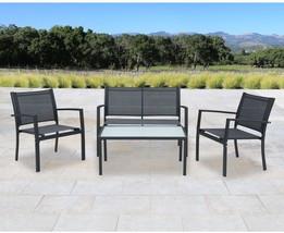 Corvus Antonio Outdoor 4-piece Black Sling Fabric Chat Set - $225.52