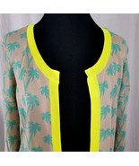 Willow & Clay Palm Tree Knit Cardigan Sweater Buttonless Yellow Trim Med - $50.80