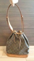 Auth Louis Vuitton Noe Shoulder Bag Brown Drawstring Medium Leather LVB0349 - $389.07