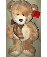 """NWT AURORA TAN TEDDY BEAR Stuffed Plush Animal Toy Plaid Bow Cream 17"""" Soft - $14.84"""