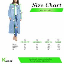 Women's Oversize Long Button Up Distressed Cotton Denim Classic  Jean Jacket image 2