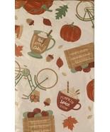 Pumpkin Spice Apple Cider Vinyl Flannel Back Tablecloth 60 Round Autumn ... - $19.79