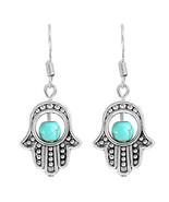 Hamsa Pair Earrings Blue Bead Silver Tone Trendy Dangle - $14.01