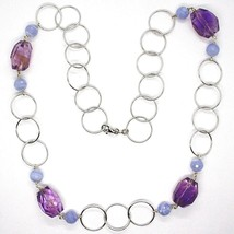 Necklace Silver 925, Fluorite Oval Faceted Purple, Chalcedony, 70 CM image 2