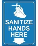 Sanitize Hands Here Novelty Metal Parking Sign - $21.95