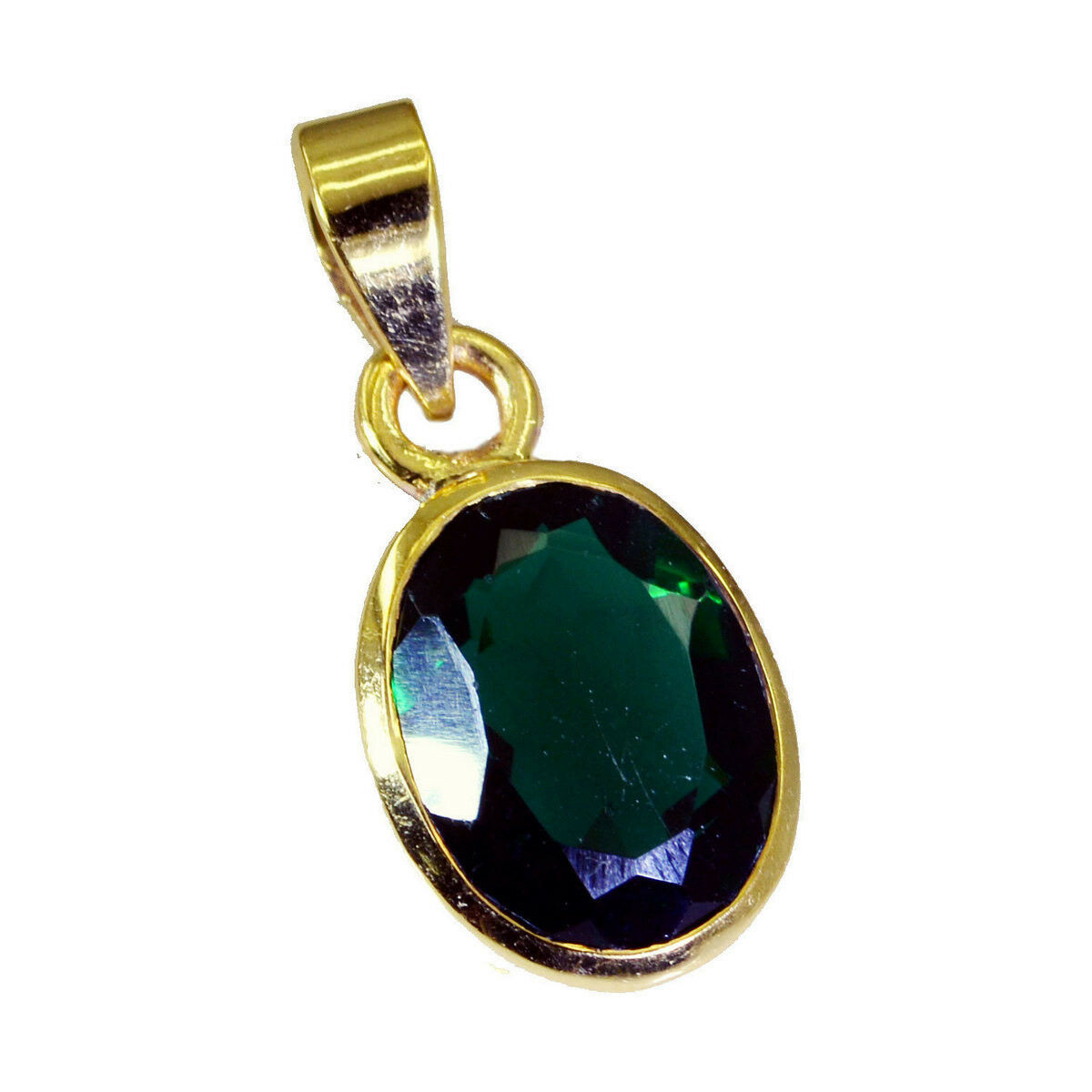 Primary image for classy Green Emerald CZ Gold Plated Green Pendant genuine usual US gift