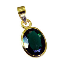 classy Green Emerald CZ Gold Plated Green Pendant genuine usual US gift - $9.89
