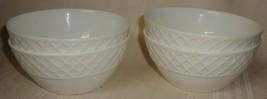 "Set of 4 Mikasa Trellis Lattice Bone China Fruit Dessert Bowls 4-5/8"" - $24.74"