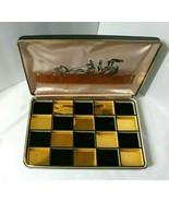 Farrington Jewelry Box Case Black Gold Checkerboard Insert Vintage Fire ... - $44.50