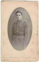 WW1 Cabinet Photo of Young French Soldier taken in Orleans, Bourges France - $9.49