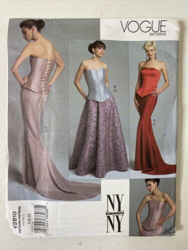 Primary image for Uncut! Vogue Patterns V2810 Corset & Skirt Size 6/8/10 The NY Collection