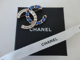NIB Authentic CHANEL Blue Leather Crystal CC Brooch Pin XL 2018 Fall - $824.49